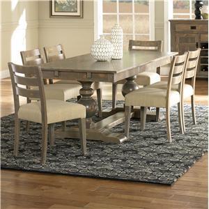 Customizable Rectangular Table Set with Trestle Base