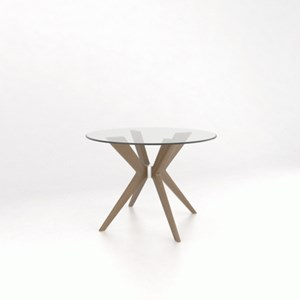 """Customizable 42"""" Glass Top Dining Table"""