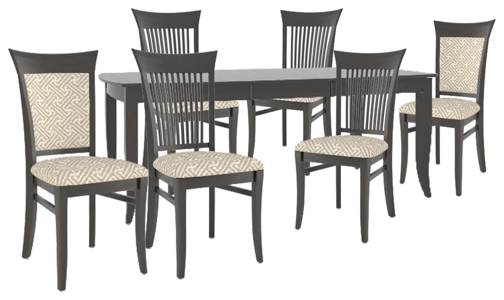 Custom Dining Table, Side Chairs, Upholstered Chairs by Canadel at Johnny Janosik
