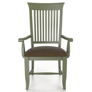 Customizable Slat Back Upholstered Arm Chair