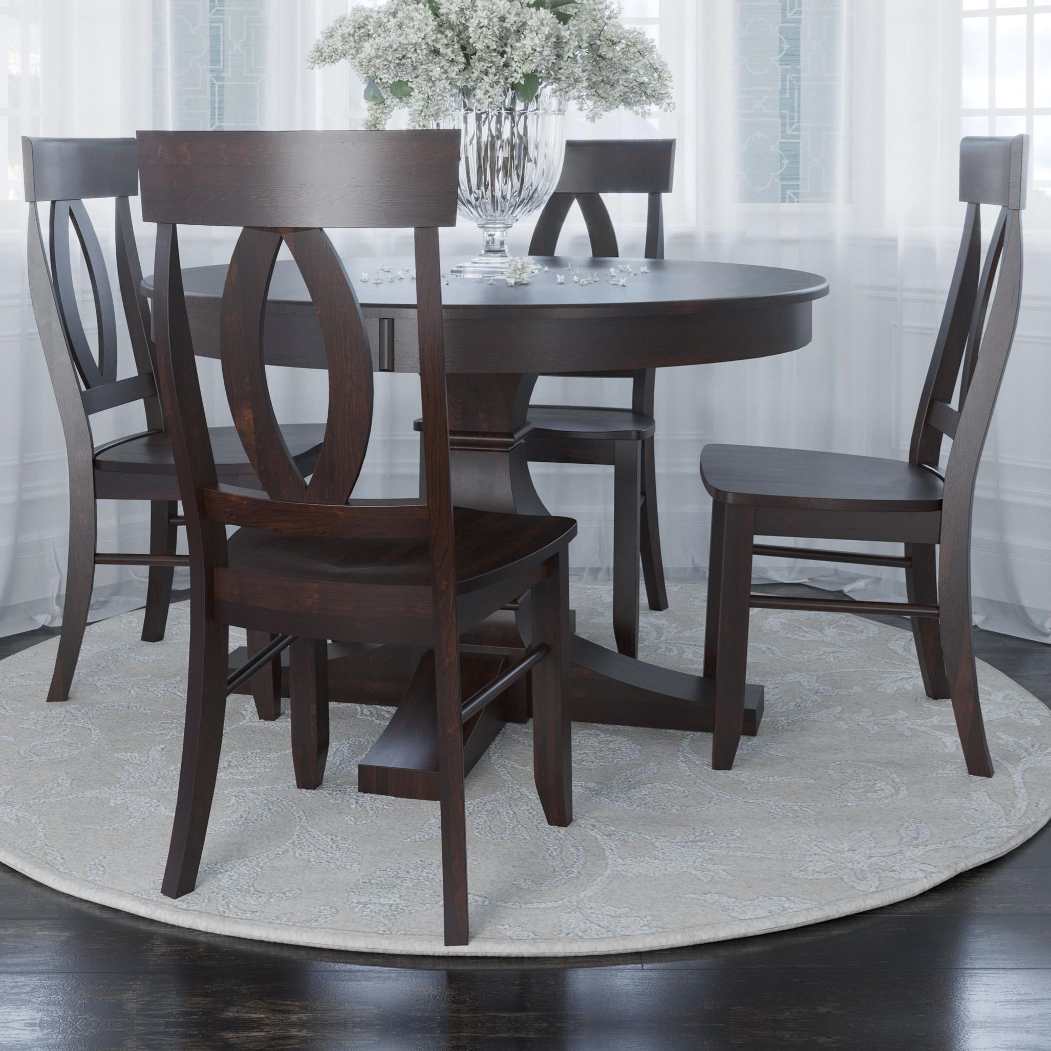 Core - Custom Dining Customizable 5-Piece Round Dining Table Set by Canadel at Furniture and ApplianceMart