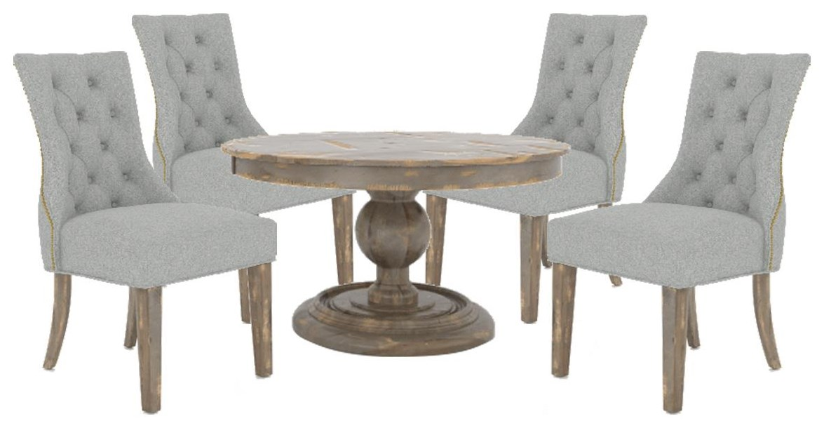 """Custom Dining Tables 54"""" Round Table and 4 Upholster Chair by Canadel at Johnny Janosik"""