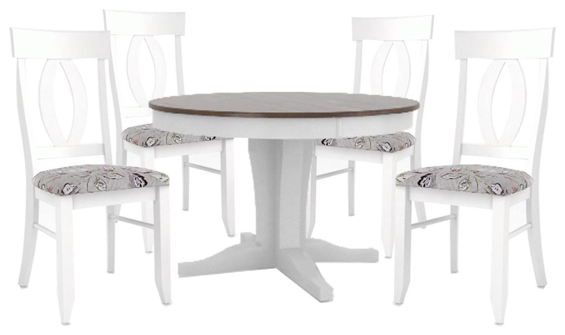 """Custom Dining Tables 48"""" ROUND TABLE AND 4 CHAIRS by Canadel at Johnny Janosik"""