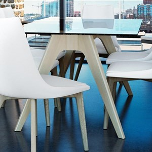 Contemporary Customizable Glass Top Dining Table