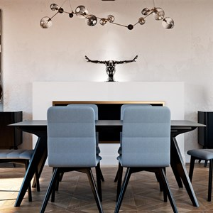Contemporary Customizable Rectangular Table with Solid Top