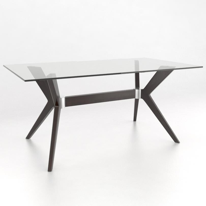 Downtown - Custom Dining Customizable Rectangular Table w/ Glass Top by Canadel at Saugerties Furniture Mart