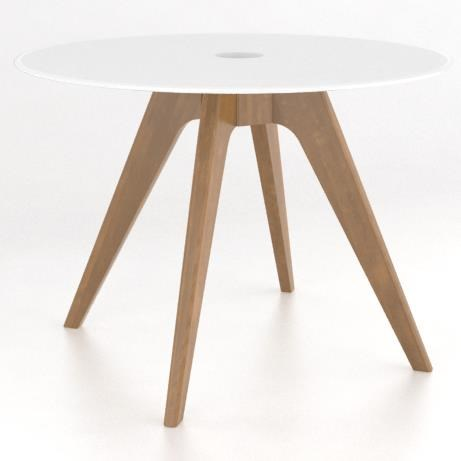 Downtown - Custom Dining Customizable Round Glass Top Table by Canadel at Saugerties Furniture Mart