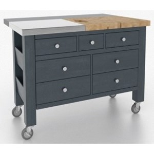 Customizable Kitchen Island with Removable Butcher Block/Stainless Steel Top