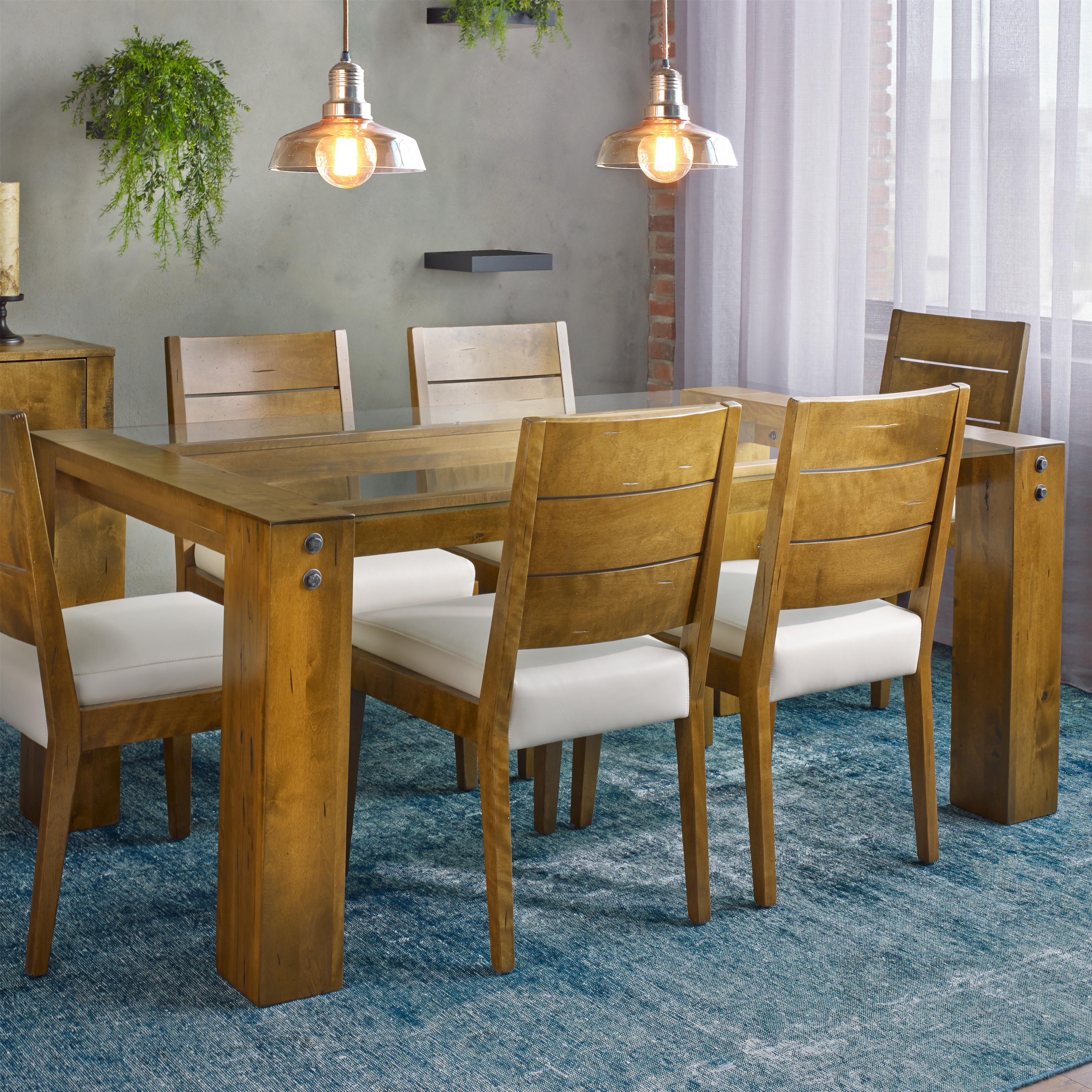 Loft - Custom Dining Customizable Glass Top Dining Table by Canadel at Saugerties Furniture Mart
