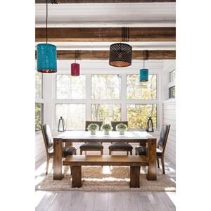 Customizable Rectangular Table Set with Bench