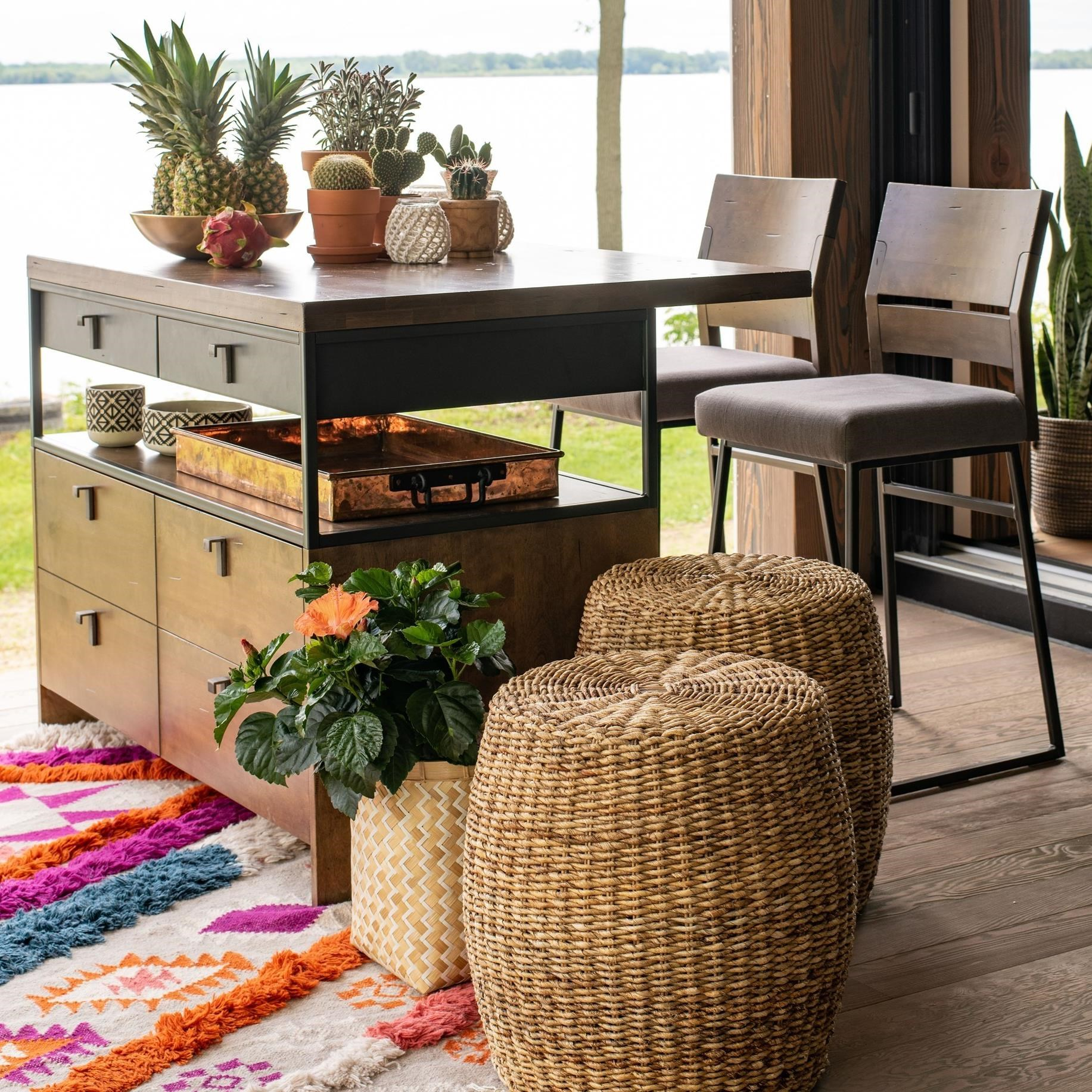 Loft - Custom Dining Customizable Island and Stools by Canadel at Dinette Depot