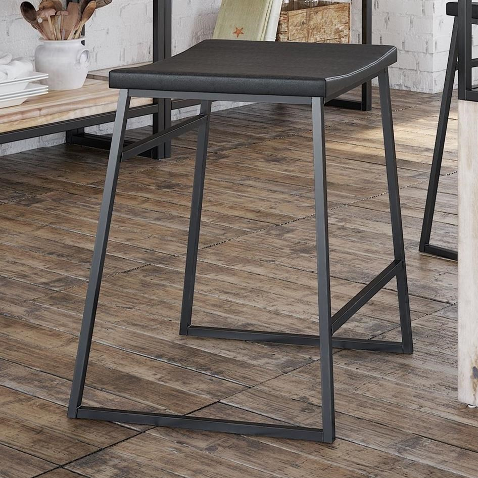 Loft - Custom Dining Customizable Metal Stool w/ Upholstered Seat by Canadel at Jordan's Home Furnishings