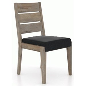 Rustic Customizable Dining Side Chair with Upholstered Seat