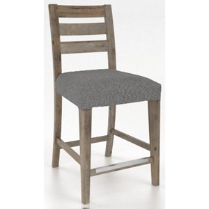 "Customizable Upholstered 24"" Fixed Stool with Slat Back"