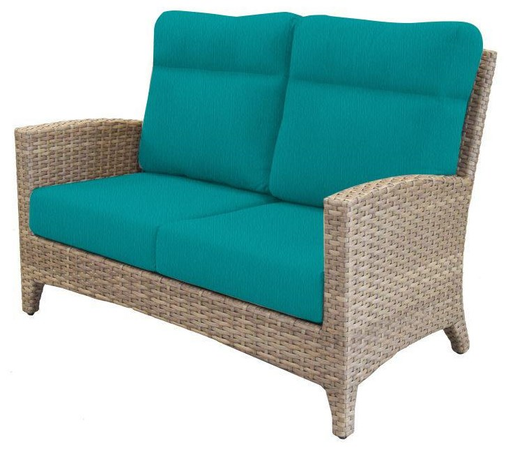 Grand Stafford Loveseat With Pillows by Cape May Wicker at Johnny Janosik