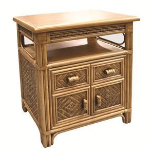 Wicker Rattan Cabinet With Open Shelf