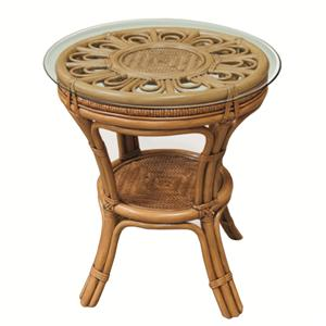 Round Wicker Rattan Lamp Table
