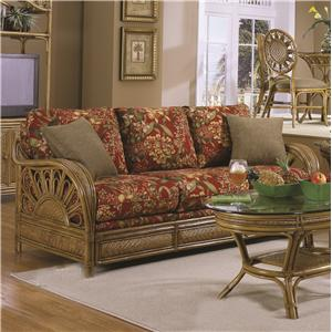Wicker Rattan Framed Sofa With Accent Pillows