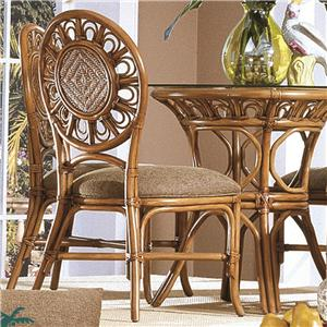 Wicker Rattan Dining Side Chair With Upholstered Seat Cushion