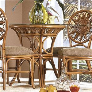 Glass Top Wicker Rattan Round Table