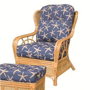 Wicker Rattan Upholstered Wing Chair