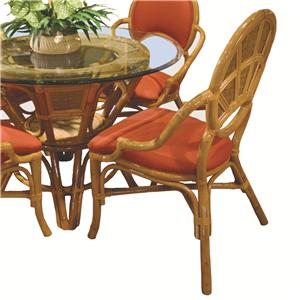 Wicker Rattan Dining Arm Chair With Upholstered Seat Cushion