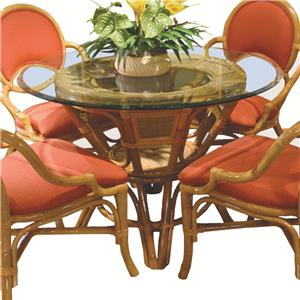 Glass Top Round Wicker Rattan Table