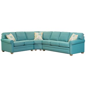 Casual Three Piece Rolled Arm Sectional Sofa