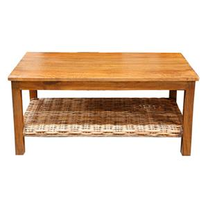Casual Coffee Table with Woven Shelf
