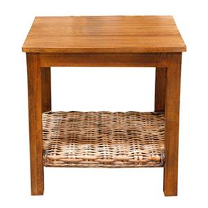 Casual Lamp Table with Woven Shelf
