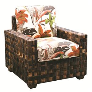 Woven Wicker Chair With Upholstered Cushions