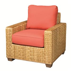 Woven Wicker Rattan Chair With Upholstered Seat Cushions