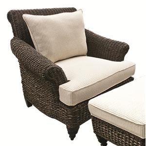 Wicker Chair With Upholstered Cushions