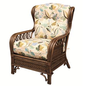 Wicker and Rattan Upholstered Chair
