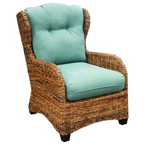 Wicker Occasional Chair with Tufted Back Cushion
