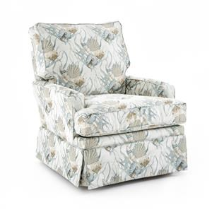 Transitional Swivel Glider Chair with Kick Pleat Skirt