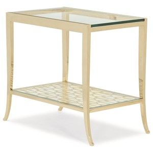 "Contemporary ""A Precise Pattern"" End Table with Glass Shelf"