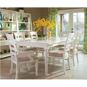 Rectangular Table with Ladder Back Side and Arm Chair Set