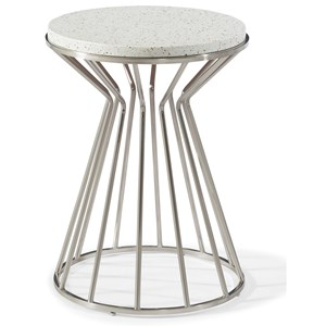 Westside Round End Table with White Terrazzo Stone Top