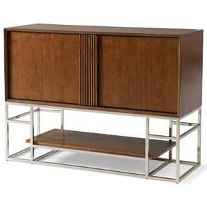 Contemporary Dining Room Server with Display Shelf and Modern Metal Base