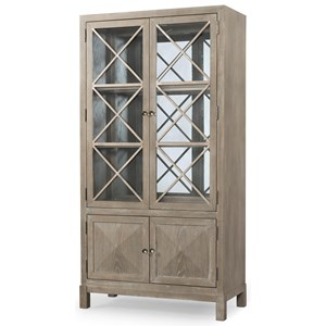 Transitional China Cabinet with Touch Lighting