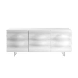 High Gloss White Lacquer Buffet with Stainless Steel Base