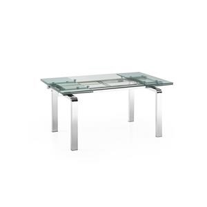 Glass Extension Table with Stainless Steel Legs