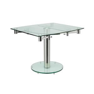 Modern Glass and Stainless Steel  Extension Table