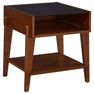 Mid-Century Modern Tempered Glass Top End Table with 2 Shelves