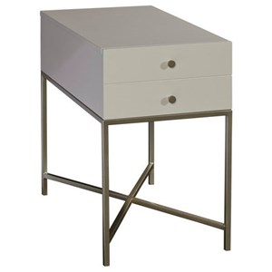 Chairside Table with Champagne Metal Finishes