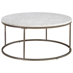 Round Cocktail Table with Marble Top
