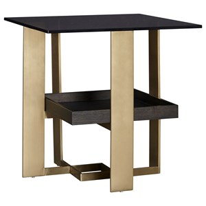 Glass Top End Table with Shelf