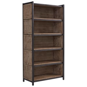 Industrial Bookcase with Sliding Shelf Boxes