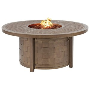 """49"""" Round Coffee Table with Firepit and Lid"""